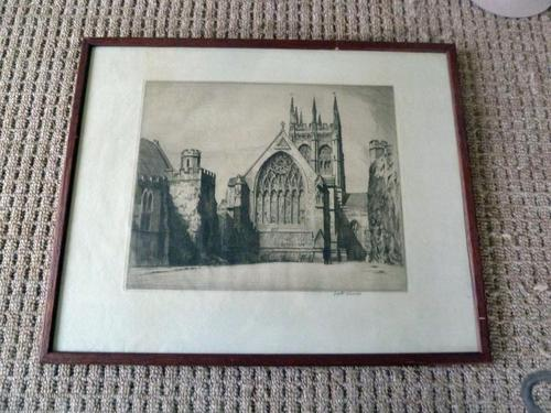 "Gyrth Russell Signed "" Church "" Etching (1 of 3)"