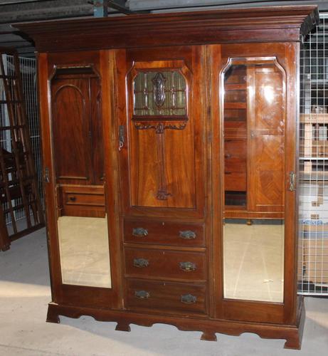 Large Art Nouveaux Mahogany Compactum Wardrobe (1 of 6)