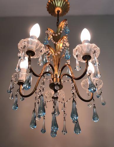 Vintage Gilt Toleware Ceiling Light Chandelier with Teal Glass Droplets (1 of 12)