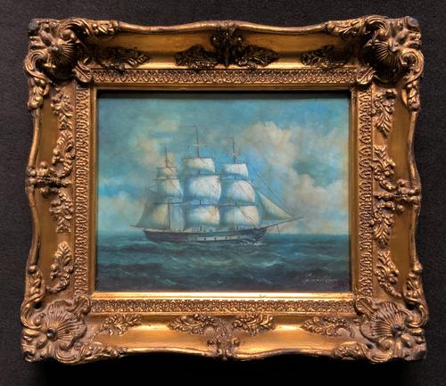 Original Seascape Oil Painting of 18th Century Tall-Masted Ship on the High Seas (1 of 12)