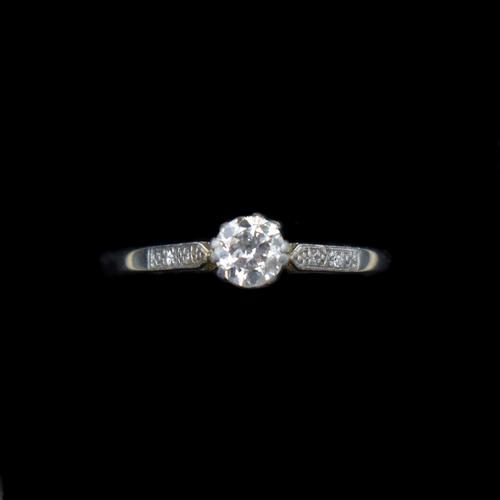Art Deco 0.50ct Diamond Solitaire 18ct 18K Gold & Platinum Ring (1 of 9)