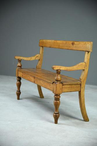 Rustic Pine Bar Back Bench (1 of 7)