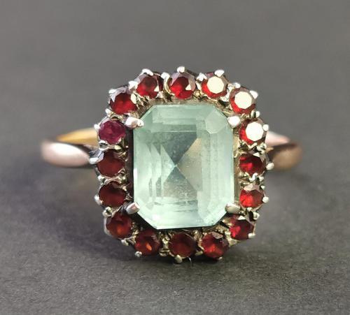 Antique Victorian Aquamarine & Garnet Ring, 9ct Gold (1 of 10)