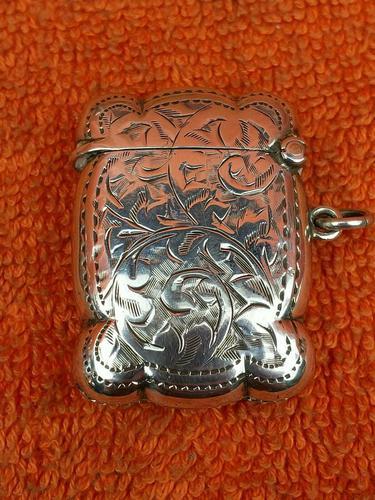 Antique Sterling Silver Hallmarked Vesta Gold Gilt 1921, John Rose (1 of 12)