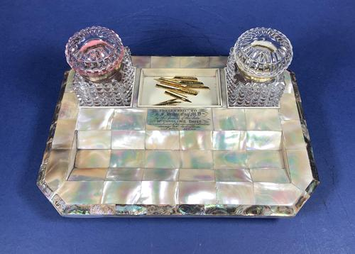 Victorian Mother of Pearl & Abalone Inkstand (1 of 15)
