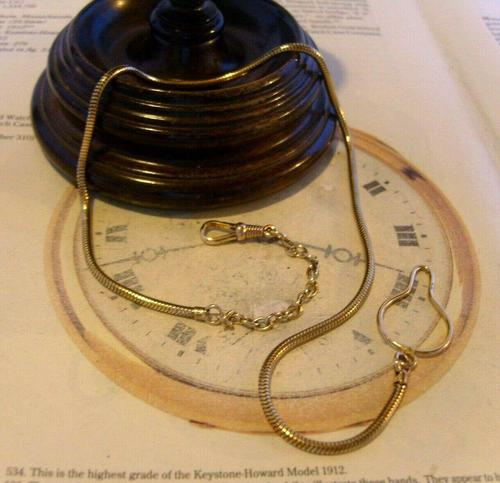 Vintage Pocket Watch 1940s Long 12ct Rolled Gold Snake Link Albert With Button Clip (1 of 12)