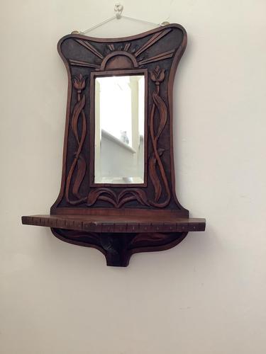 Art Nouveau Hardwood Vanity  Hall Mirror (1 of 3)