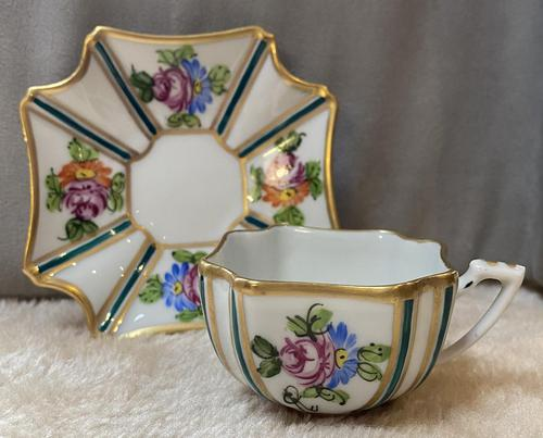 Limoges Hand Painted Cup and saucer. (1 of 4)
