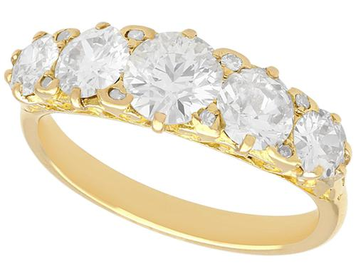 3.31ct Diamond & 18ct Yellow Gold Five Stone Ring c.1930 (1 of 9)