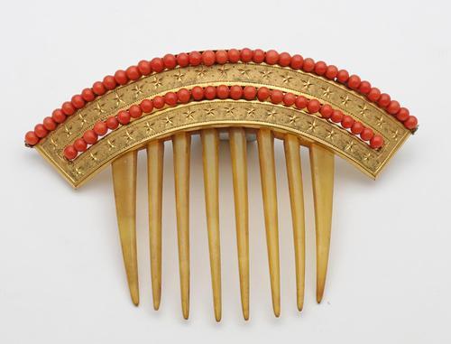 Georgian Coral & Horn Hair Ornament (1 of 2)