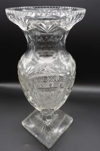 Large Early 20th Century Ovoid Cut Glass Vase (1 of 5)