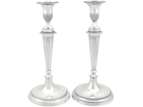 Cast Sterling Silver Candlesticks - Antique George III 1784 (1 of 12)
