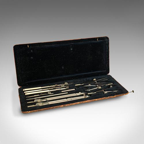 Quality Antique Drawing Instrument Set, German, Architect, Cartographer, Riefler (1 of 10)