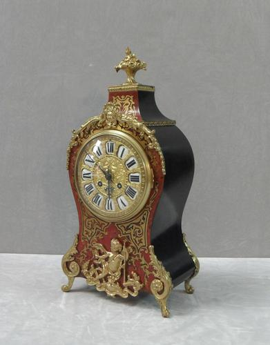 French Louis XV Style Boulle Mantel Clock by Samuel Marti (1 of 8)
