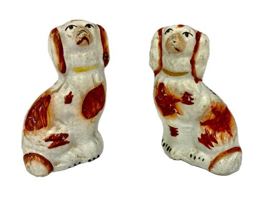 Antique Pair of Miniature Staffordshire Pottery Dogs c.1830 (1 of 5)