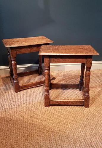 Matching Pair of Antique Oak Joint Stools (1 of 7)