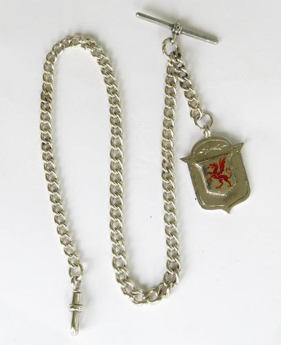 Antique Silver Watch Chain & Welsh Dragon Fob (1 of 3)