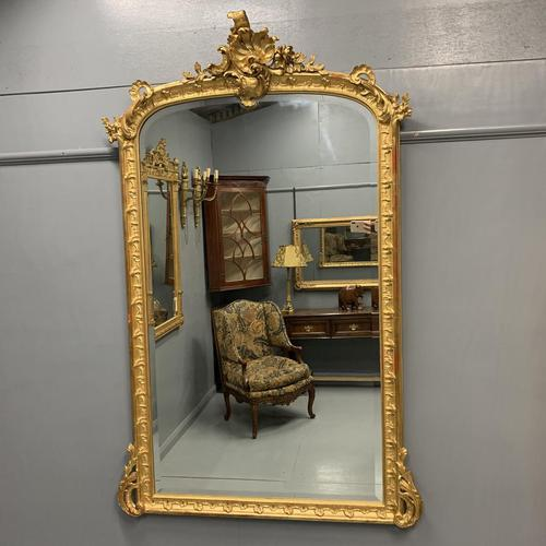 Large French gilt overmantle mirror 185cm (1 of 8)
