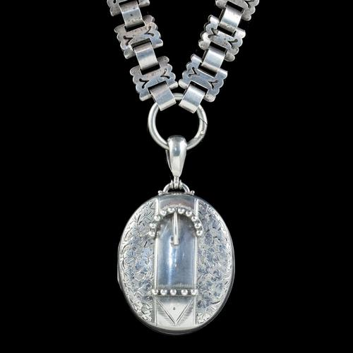 Antique Victorian Buckle Locket & Collar Necklace Sterling Silver c.1880 (1 of 7)