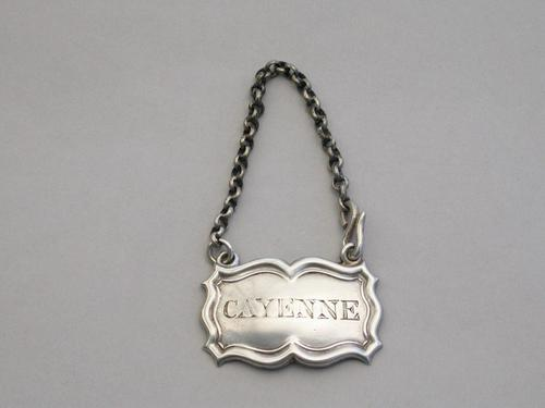 William IV Silver Sauce Label 'Cayenne' by Rawlings & Summers, London, 1836 (1 of 6)