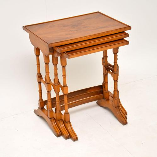 Antique Georgian Style Yew Wood Nest of Tables (1 of 7)