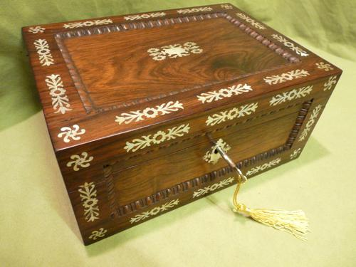 Inlaid Rosewood Table Box / Jewellery Box c.1840 (1 of 12)