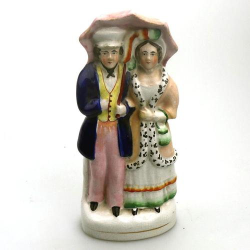 19th Century Pottery Victorian Staffordshire Courting Couple Figure (1 of 9)