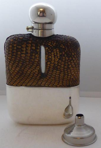 Silver Plated Snake Skin Bound Glass Hip Flask Drew & Son London c.1910 (1 of 12)