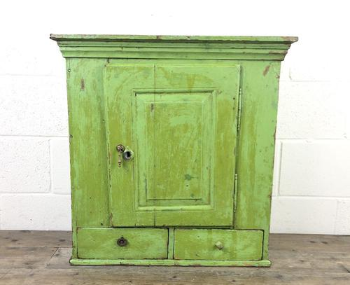 Rustic Antique Green Painted Wall Cupboard (1 of 11)