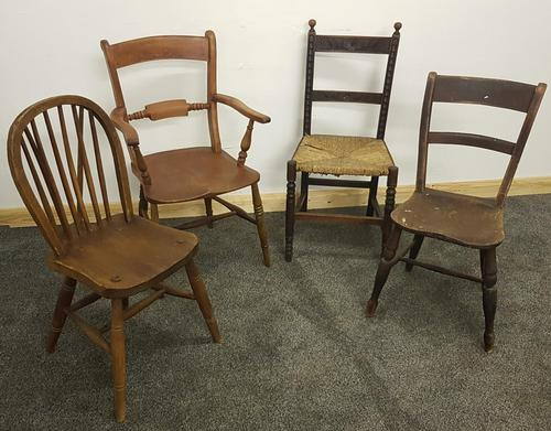 Early 20th Century Harlequin Set of 4 Chairs (1 of 21)