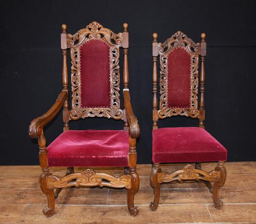 Set Antique Oak Dining Chairs - Farmhouse Kitchen Diners 1880 (1 of 11)