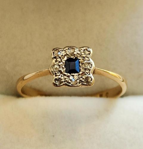 18ct Gold Platinum Art Deco Sapphire & Diamond Ring Size M.5 (1 of 16)
