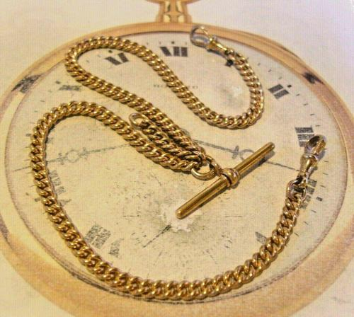 Victorian Pocket Watch Chain 1890s Antique 12ct Rose Gold Filled Albert With T Bar (1 of 12)