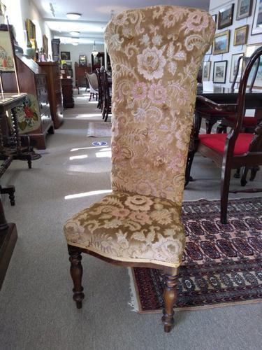 Victorian Mahogany  Upholstered Prayer Chair (1 of 8)