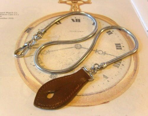 Vintage Pocket Watch Chain 1970s Long Chrome Snake Link With Leather Button Fob (1 of 11)