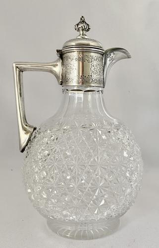 Silver & Crystalclaret Jug. Sheffield 1894. (1 of 10)