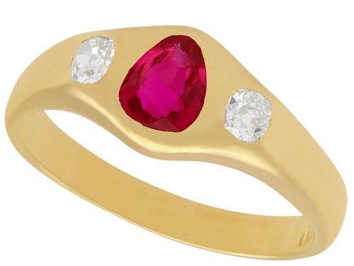 0.83ct Ruby & 0.40ct Diamond, 18ct Yellow Gold Dress Ring c.1930 (1 of 9)