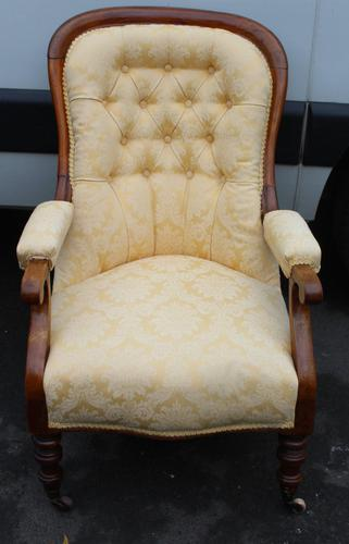 1880's Buttoned Back Mahogany Armchair with Gold Upholstery (1 of 3)