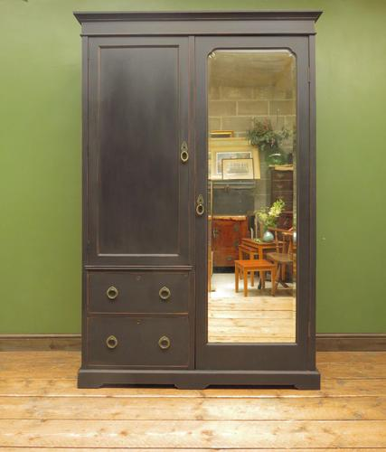 Antique Black Painted Double Wardrobe with Mirror in 4 Parts, Gothic Shabby Chic (1 of 17)
