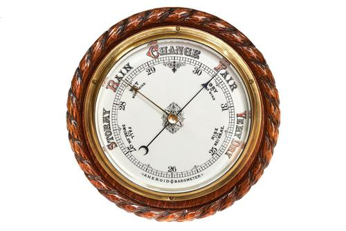 Oak  Circular Aneroid Wall Barometer with Carved Rope Decoration (1 of 3)