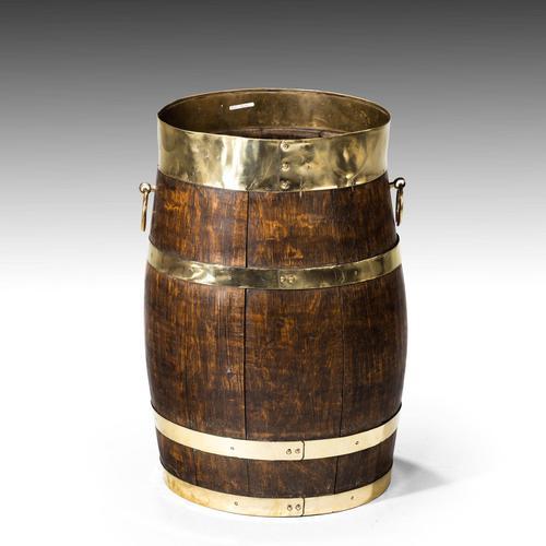 Mid 19th Century Coopered Oak Barrel (1 of 3)