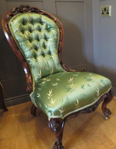 Carved Walnut Ladies Chair New Upholstery (1 of 7)