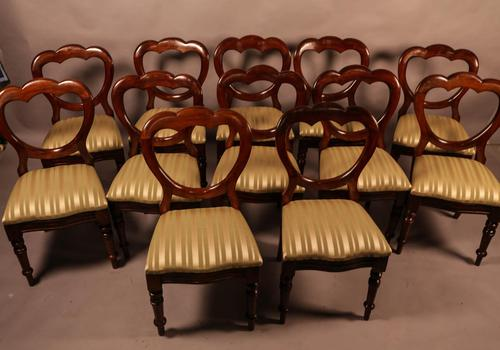 Good Set of 12 Victorian Mahogany Balloon Back Dining Chairs (1 of 8)