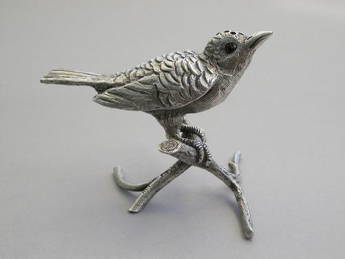 Edwardian Novelty Silver Bird on a Branch Pepper by George Bedingham, London, 1906 (1 of 12)