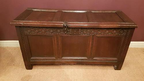 Antique George I Period Oak Three Panel Coffer c.1720 (1 of 7)