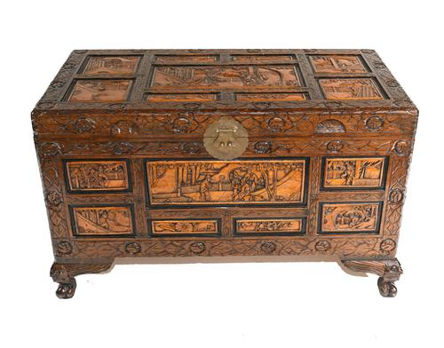 Chinese Carved Camphor Chest Luggage Trunk Antique (1 of 1)