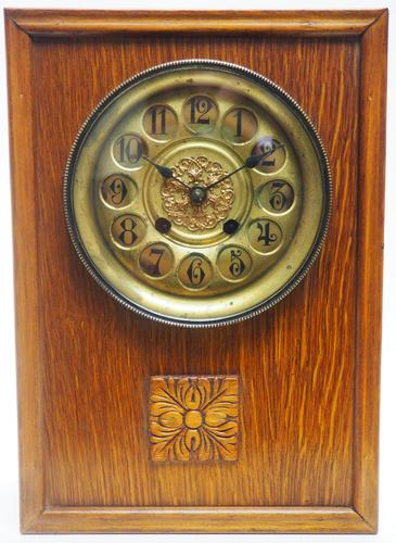 Antique German Arts & Crafts Mantel Clock Carved Detail 8 Day Mantle Clock (1 of 9)