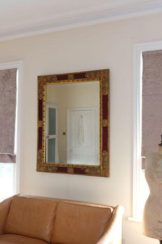 20th Century Italian parcel gilt scarlet painted wall mirror moulded frame (1 of 12)