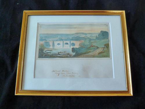 "Rowland Wright Alston Watercolour "" Ludlow Bridge "" 1927 - Slade School (1 of 4)"