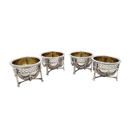 Set of 4 Antique Sterling Silver Salts 1911 (1 of 9)